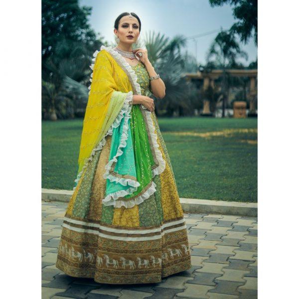 Yellow and green wedding lehenga