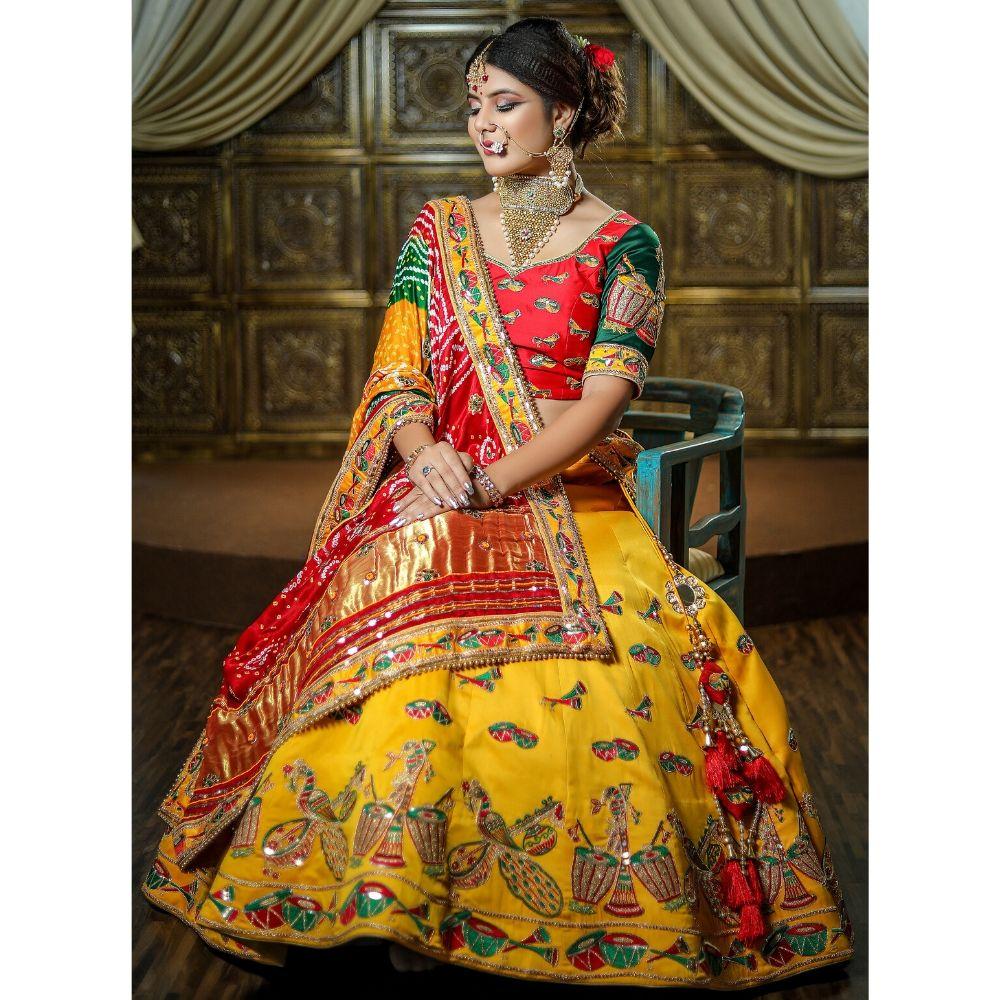 Yellow color bridal lehenga