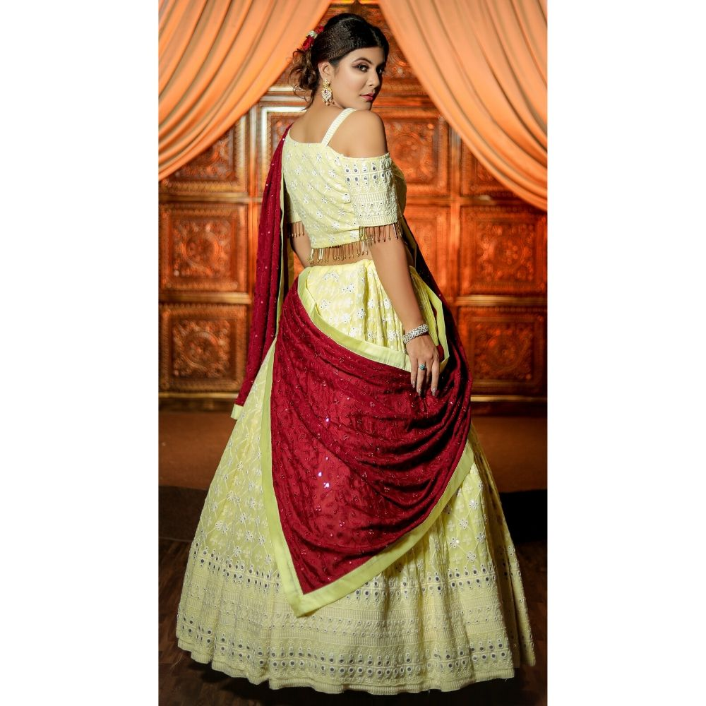 Pastel yellow wedding lehenga