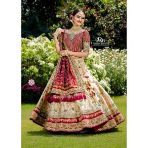 Cotton Silk Lehenga in maroon and golden color