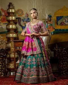 pink and sea green bridal lehenga choli